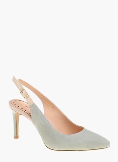 Divarese İnce Topuklu %100 Deri Ayakkabı Yeşil